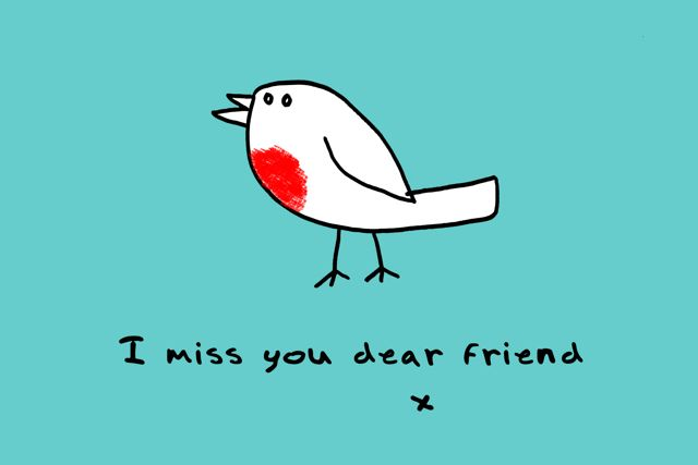 I Miss You Dear Friend Drawing Message Image
