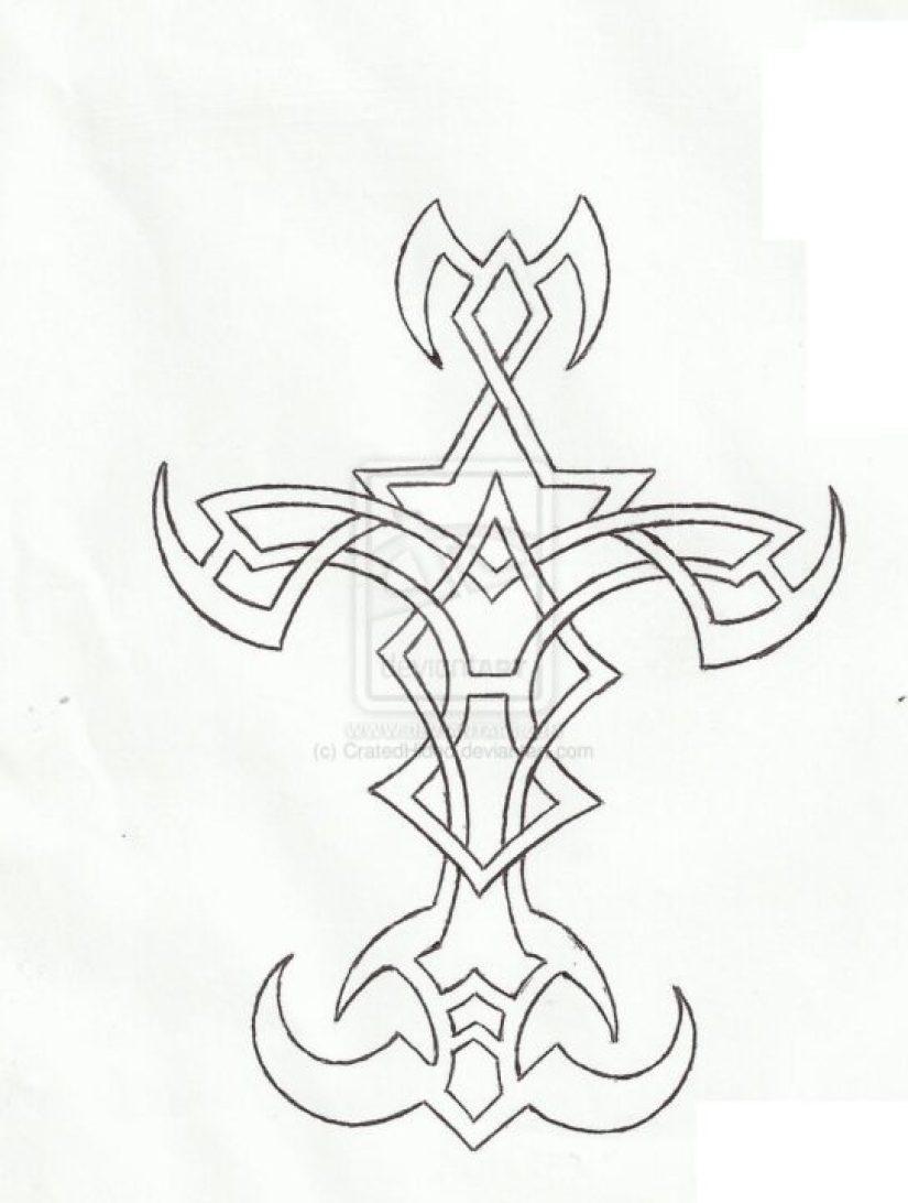 Impressive Black Color Ink Cross Tattoo Sample For Girls