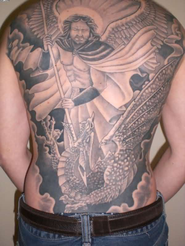 Impressive Black Color Ink Full Back Angel Tattoo Design On Boy Back For Boys