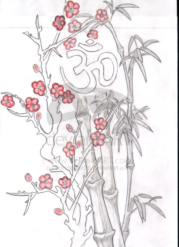 Incredible Black And Red Color Ink Religious Om & Cherry Blossom Tattoo Design For Girls