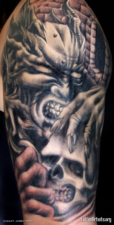Incredible Black Color Ink Biomechanical Demon & Skull Tattoo Design For Boys