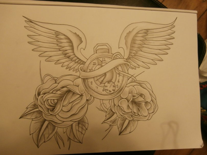 Incredible Black Color Ink Clock With Wings And Roses Tattoo Drawing For Boys Tattoo Design