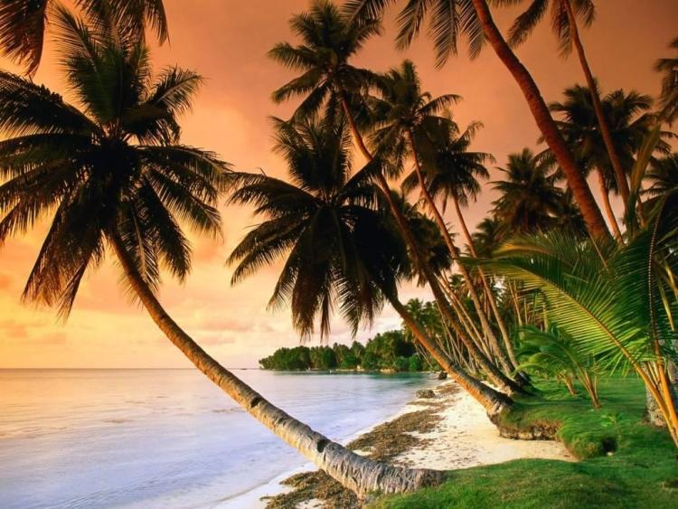 Incredible Blue Lagoon Resort Beach Micronesia Full HD Wallpaper