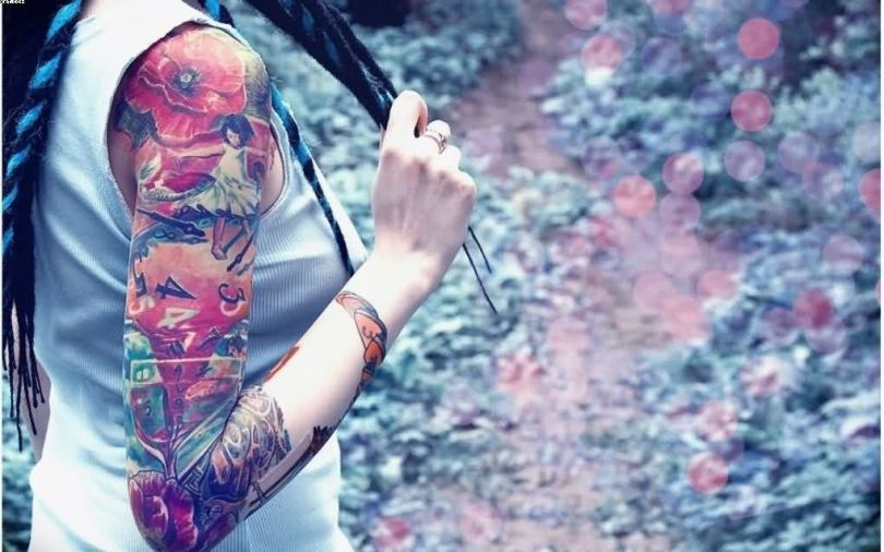 Incredible Colorful Full Sleeve Tattoo For Women
