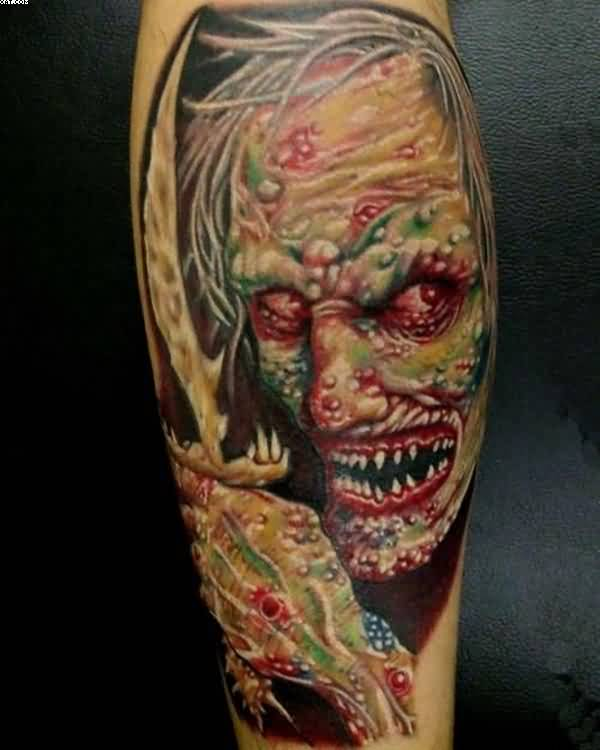Incredible Devil Zombie Tattoo For Man