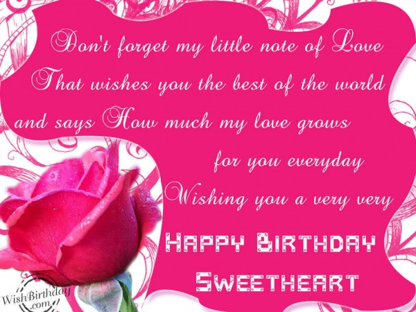 Incredible Happy Birthday Sweetheart Greetings Picture