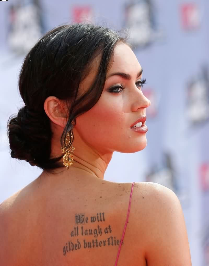 Incredible Megan Fox Back Upper Shoulder Tattoo In Black Ink For Women