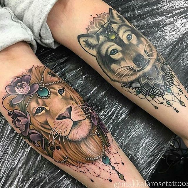Incredible Tiger And Wolf With Ornaments On Thigh For Girls