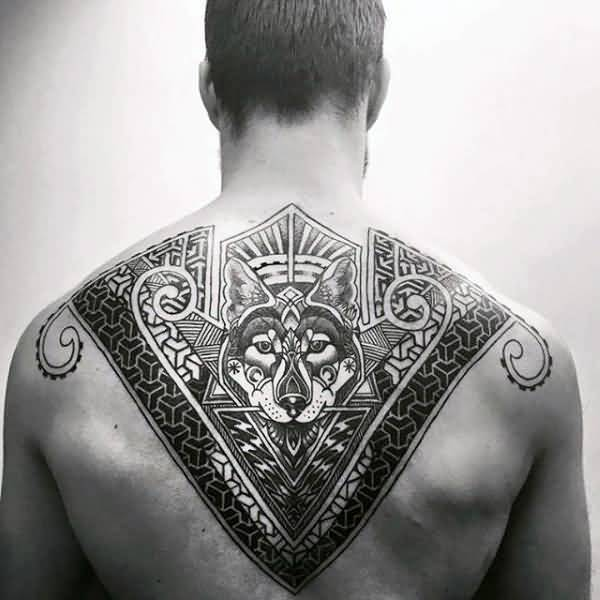 Incredible wolf pattern geometric upper back tattoos for males with black ink for man and woman