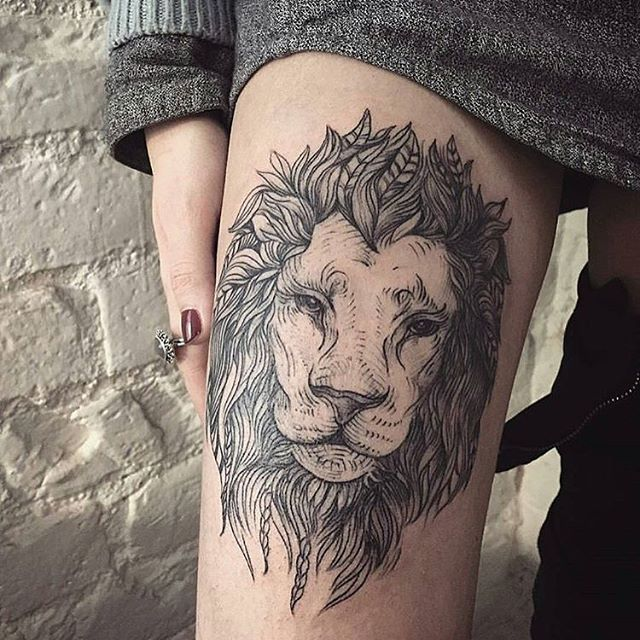 Incredilble Tiger Face Tattoo On Thigh With Black Ink For Female