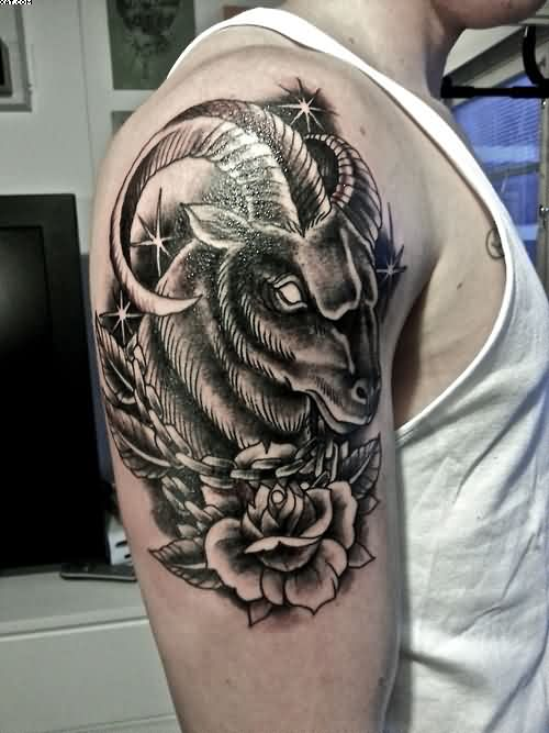 Innovative Black Color Ink Aries Tattoo Design On Biceps For Boys