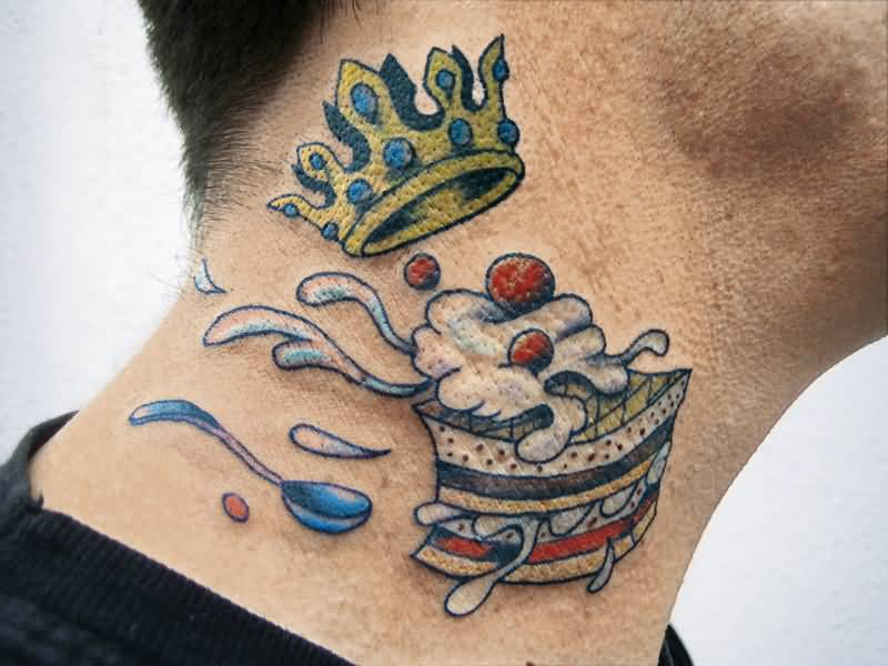 Innovative Blue Yellow Black And Red Color Ink Crown Cake Tattoo On Neck For Boys