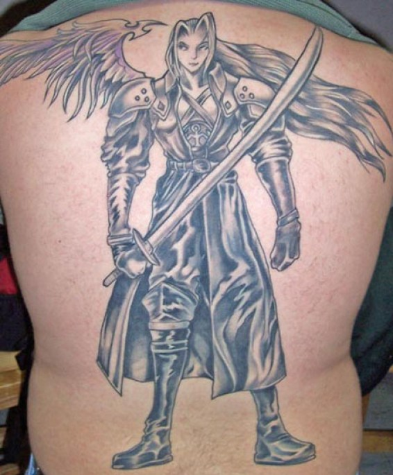Innovative Grey Color Ink Angel Warrior Tattoo On Back For Boys