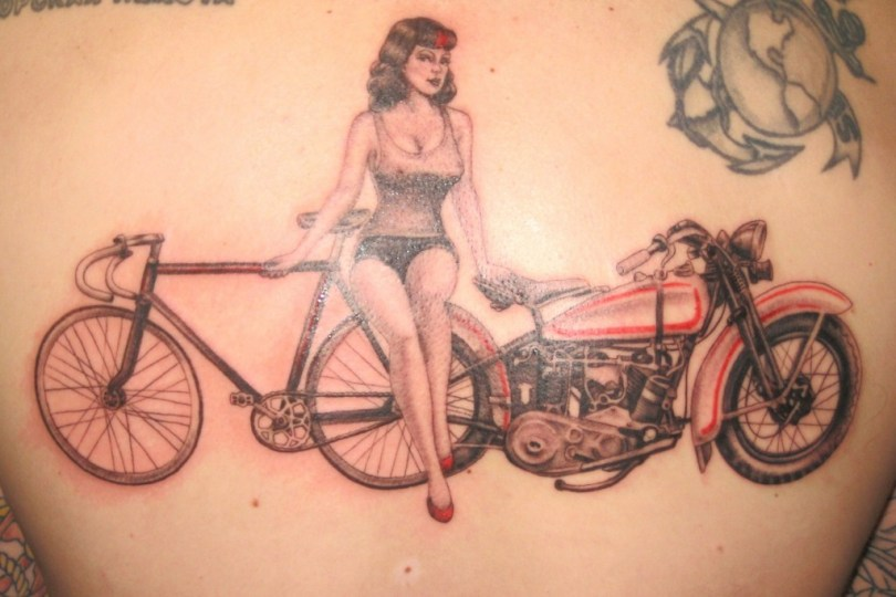 Innovative Red And Black Color Ink Girl With Bicycle & Bike Tattoo Design For Girls Back
