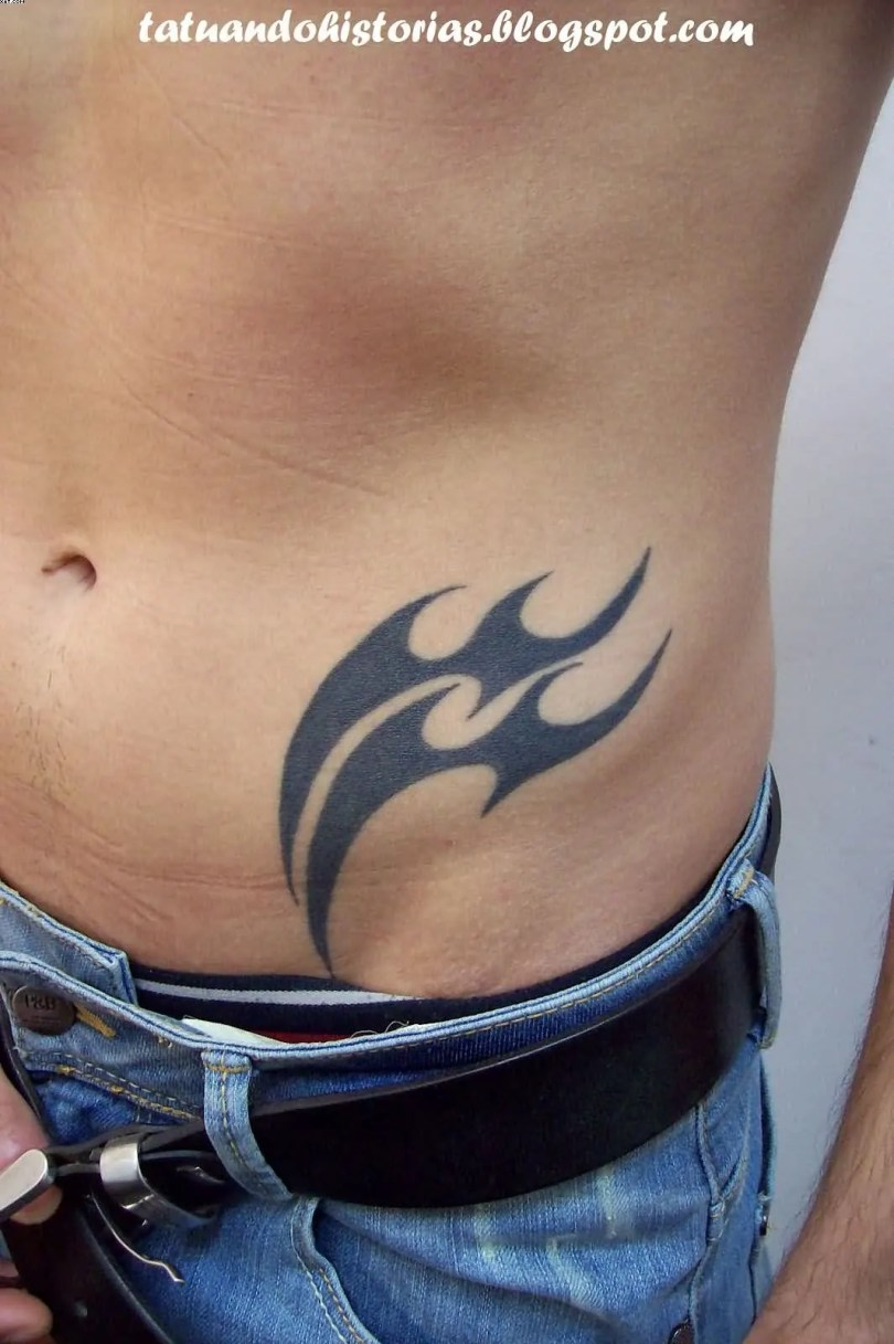 Inspirational Black Color Ink Aquarius Tattoo On Waist For Boys