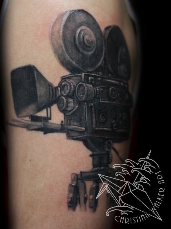Inspirational Black Color Ink Cinema Camera Tattoo Design For Boys