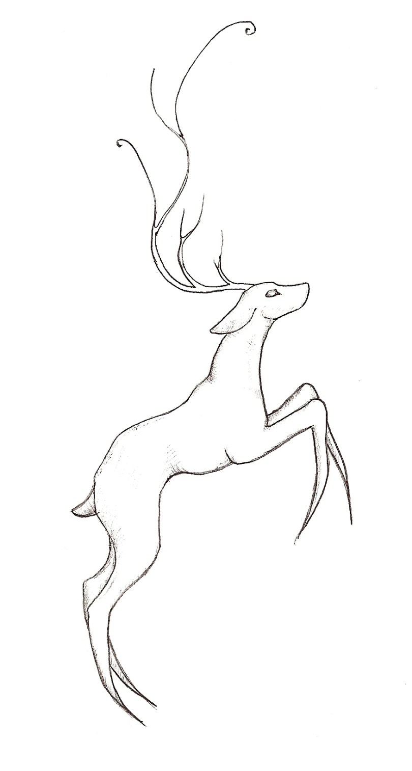 Inspirational Black Color Ink Jumping Deer Tattoo Drawing For Boys
