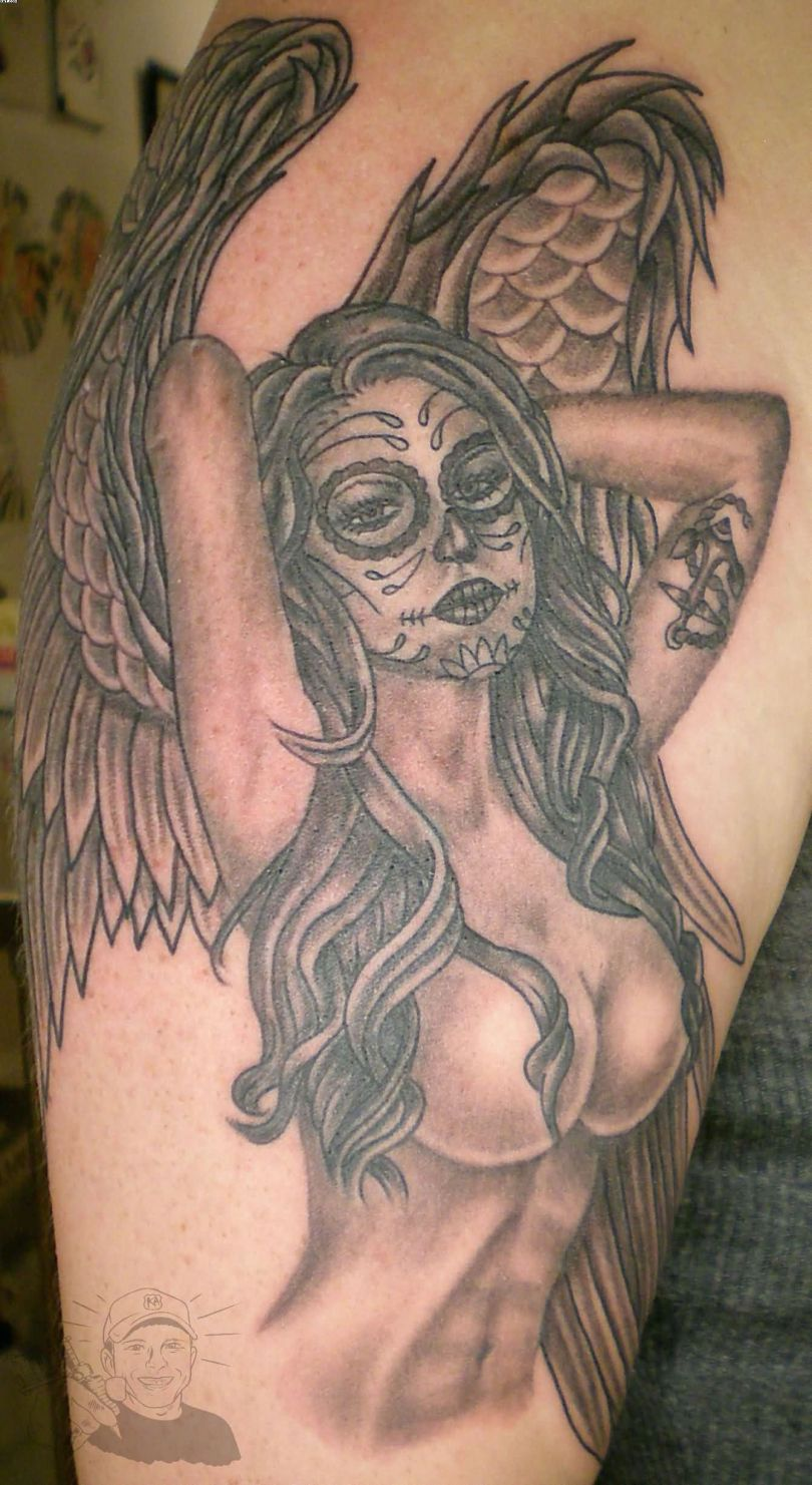 Inspirational Black Color Ink Lovely Angel Girl Tattoo For Girls