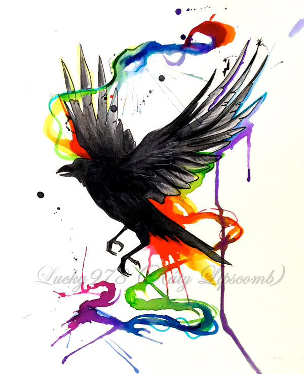 Inspirational Blue Green Black Color Ink Crow Watercolor Tattoo Model For Girls