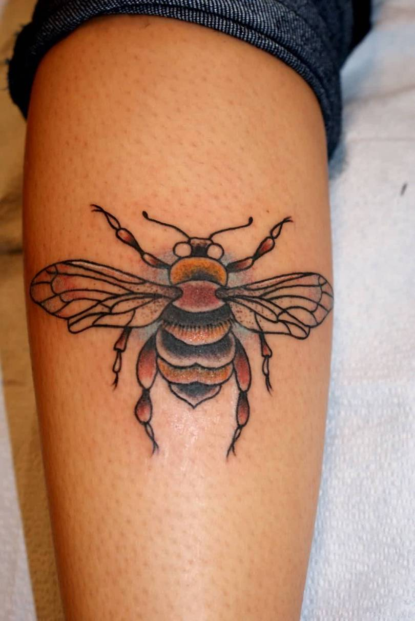 Inspiring Black Red And Yellow Color Ink Bumblebee Tattoo On Calf For Girls