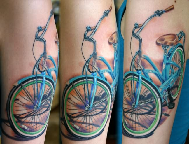 Inspiring Blue Green And Black Color Ink Bicycle Tattoo Design For Girls
