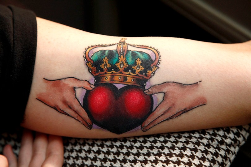 Inspiring Red Blue Yellow And Black Color Ink Crown Claddagh Tattoo For Girls