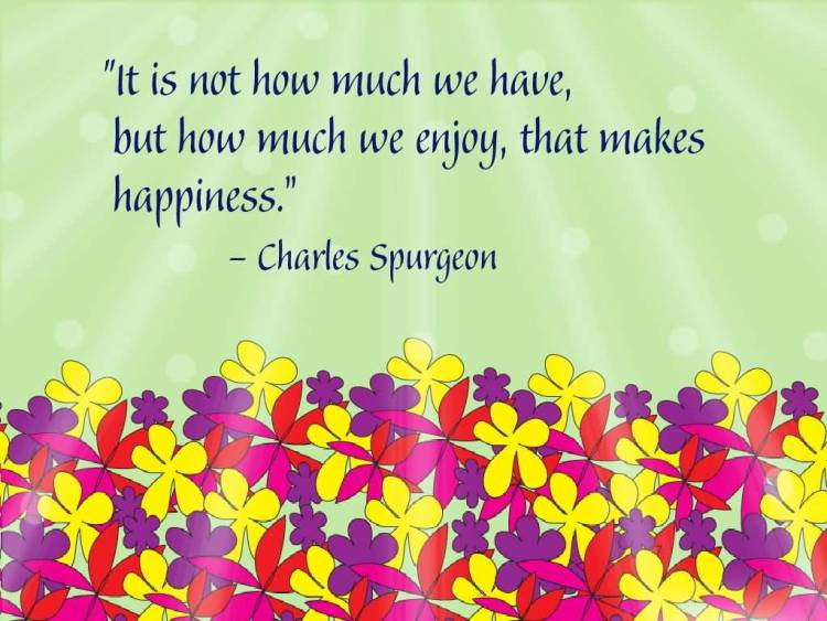 It is not how much we have,but how much we enjoy that makes happiness Charles Spurgeon