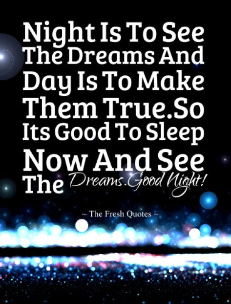 It's Good To Sleep Now And See The Dreams Good Night