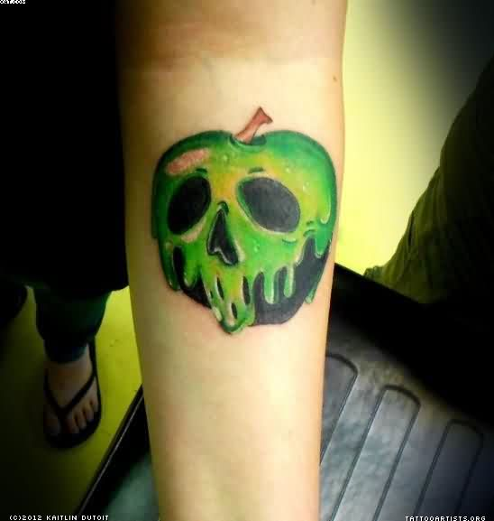 Latest Green And Black Color Ink Tattoo Design Of Poison Apple For Girls