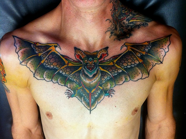 Latest Green  Black And Red Color Ink   Bat Tattoo On Chest For Boys
