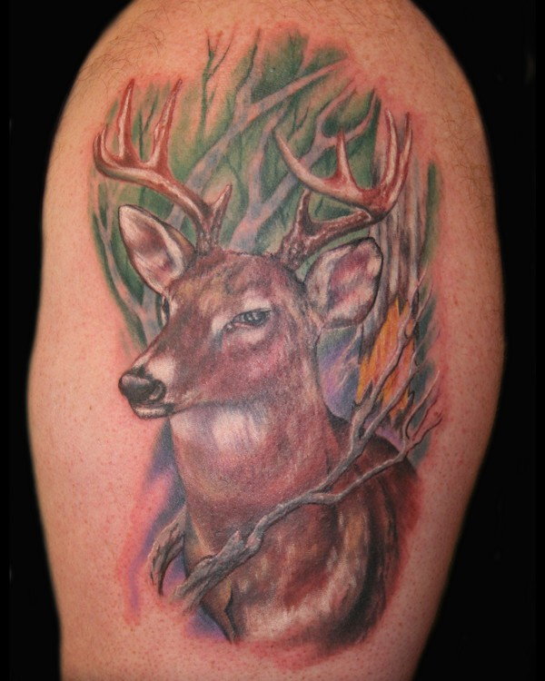 Latest Green Black And Red Color Ink Wild Deer Tattoo Picture For Boys