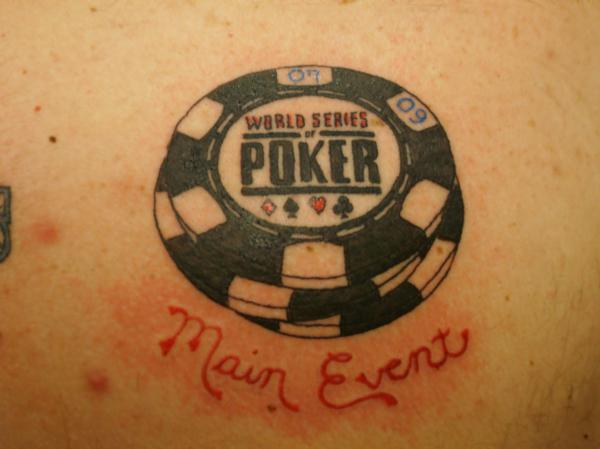 Latest Red And Black Color Ink Poker Chip Tattoo For Girls
