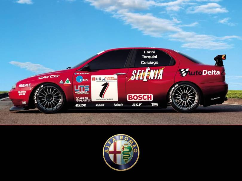 Left side of red very fast Alfa Romeo Motorsport car
