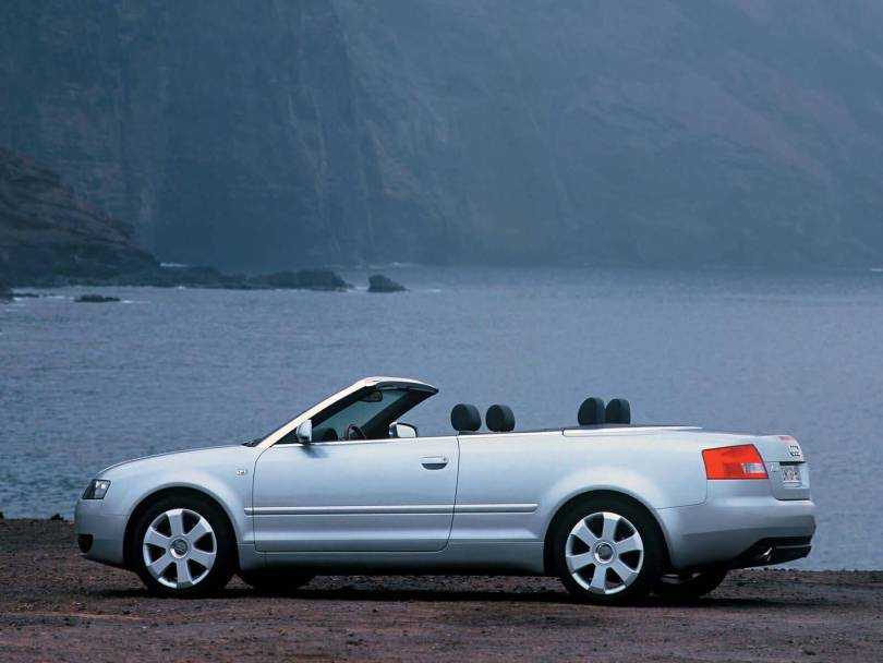 Left side view of silver beautiful Audi A4 Cabriolet