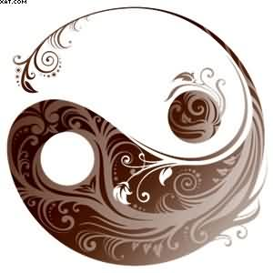 Little Brown Leafy Yin Yang Tattoo Design Sample