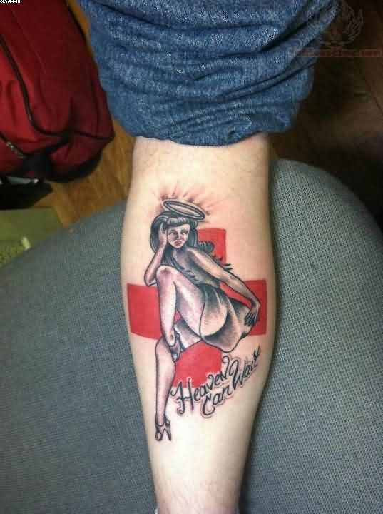 Lovely Black And Red Color Ink Heaven Can Wait Angel Girl Tattoo On Leg For Girls