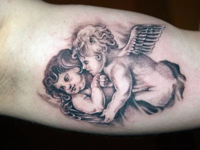 Lovely Black Color Ink Cherub Angels Tattoo Design For Boys