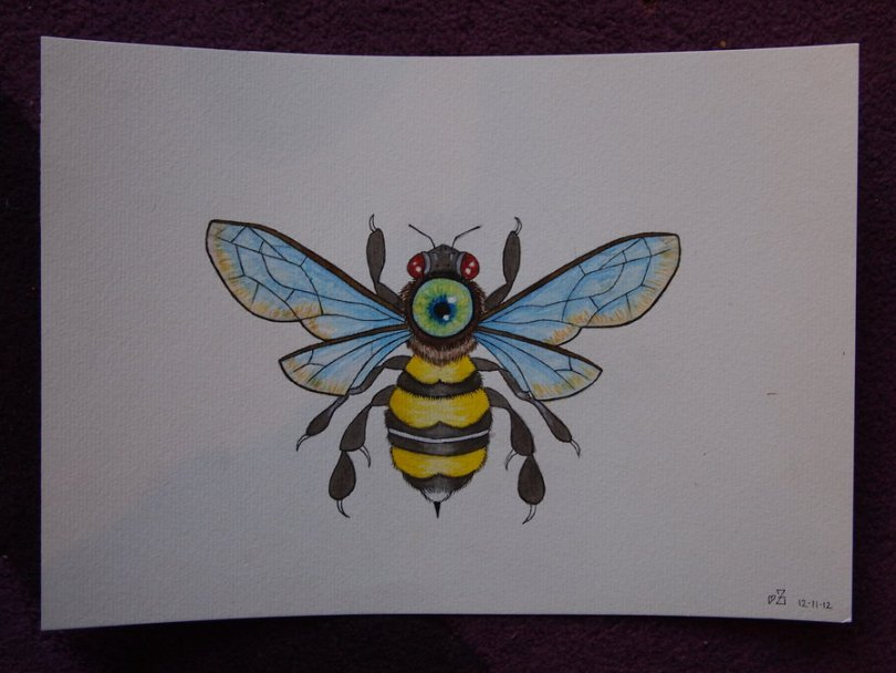 Lovely Blue Black And Yellow Color Ink Bumblebee Tattoo Picture For Boys