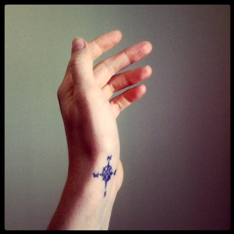 Lovely Blue Color Ink Compass Tattoo On Wrist For Girls