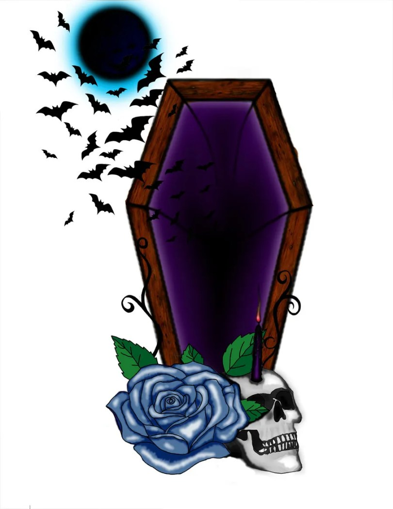 Lovely Blue Green Black And Red Color Ink Coffin With Blue Rose & Skull Tattoo Design For Boys
