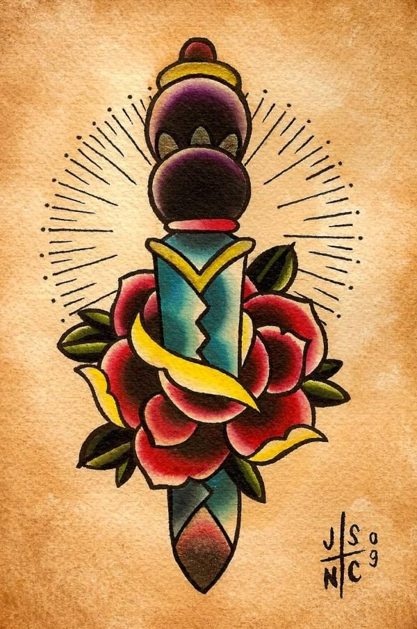Lovely Blue Green Red And Black Color Ink Rose Dagger Tattoo Poster For Girls