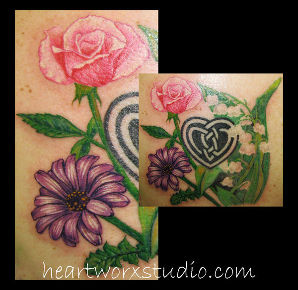 Lovely Blue Green Red And Black Color Ink Rose Daisy n Lily Tattoo Designs For Girls