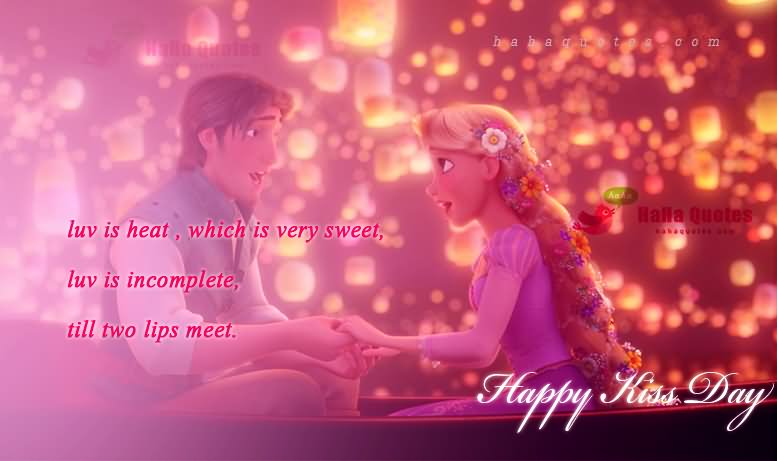 Luv Is Heat Which Is Very Sweet Happy Kiss Day Wishes Image