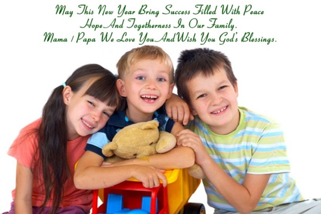 Mama Papa We Love You And Wish You God's Blessing Happy New Year Wishes Image