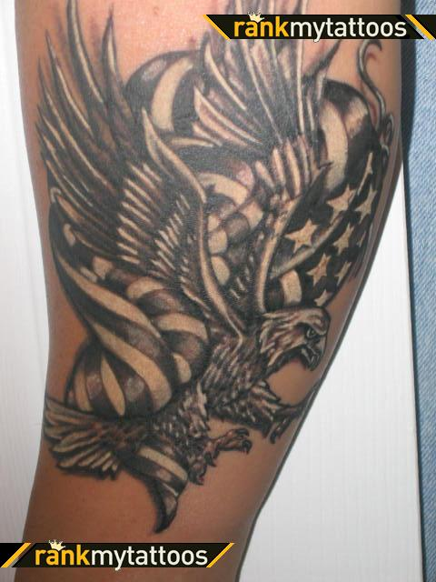 Maori Black Color Ink Bald Eagle With American Flag Tattoo Design For Girls