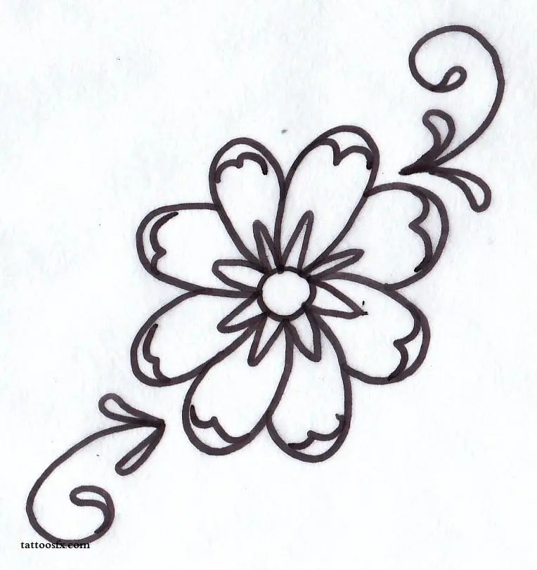 Maori Black Color Ink Daisy Outline Tattoo Sample For Boys