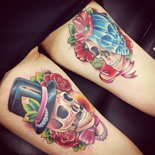 Maori Blue Green Red And Black Color Ink Rose & Skull Couple Tattoo Design For Girls