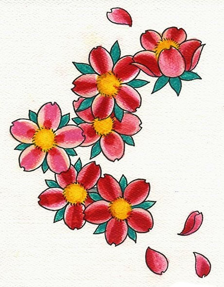Maori Green Yellow Black And Red Color Ink Cherry Blossom Tattoo Design For Girls