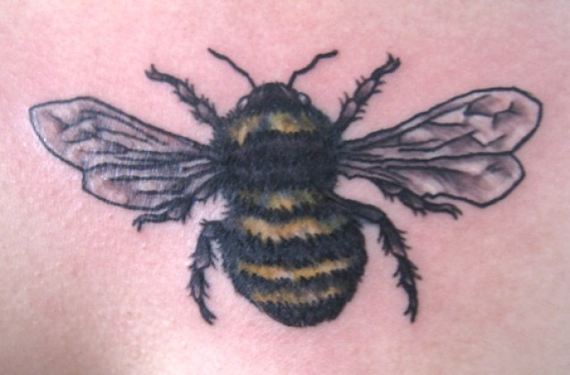 Marvel Black And Yellow Color Ink Tattoo Of A Bumblebee For Back For Boys