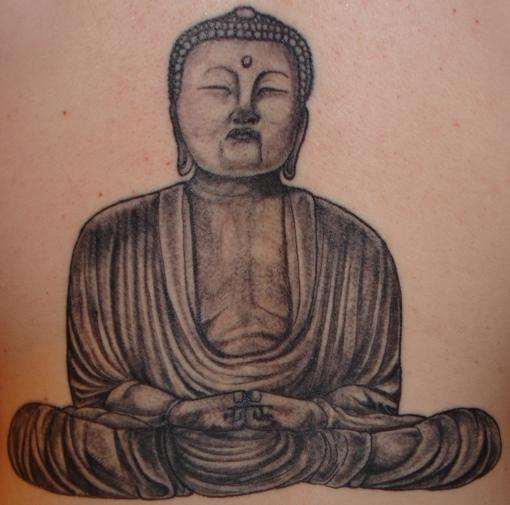 Marvel Black Color Ink Buddhist Tattoo Design On Back For Boys